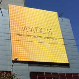 Banners announce WWDC 2014 outside Moscone West in San Francisco