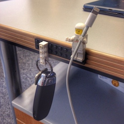 Lego + Sugru = Organized Keys and Cables