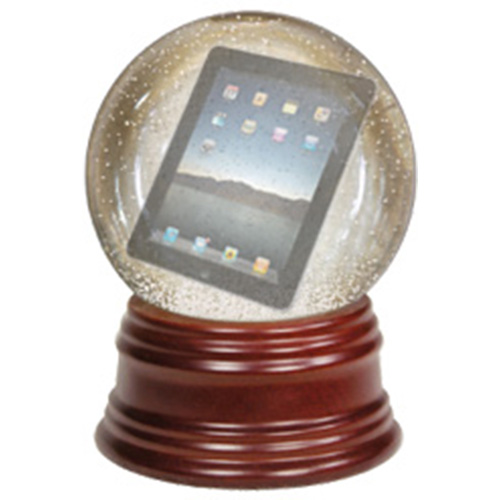 An iPad inside a crystal ball