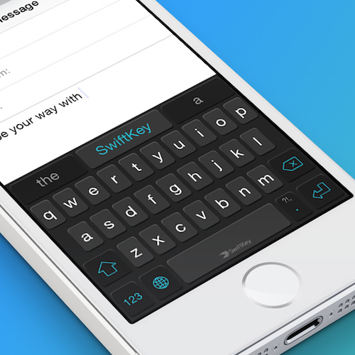 A close-up shot of SwiftKey's new keyboard for iOS 8