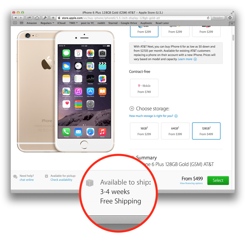 iPhone 6 Plus pre-order ship dates slip out to weeks