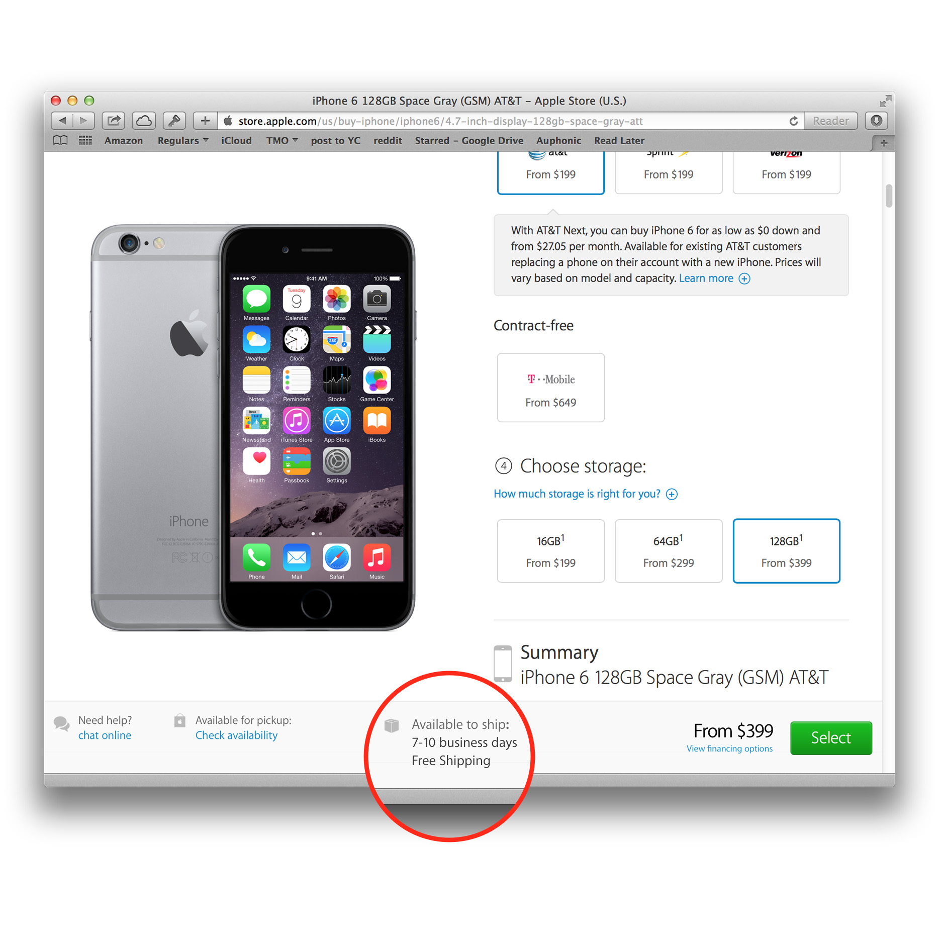 iPhone 6 pre-orders showing week-long shipping delay
