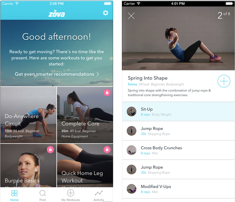 Zova targets workouts for women and shares your progress with the Health app