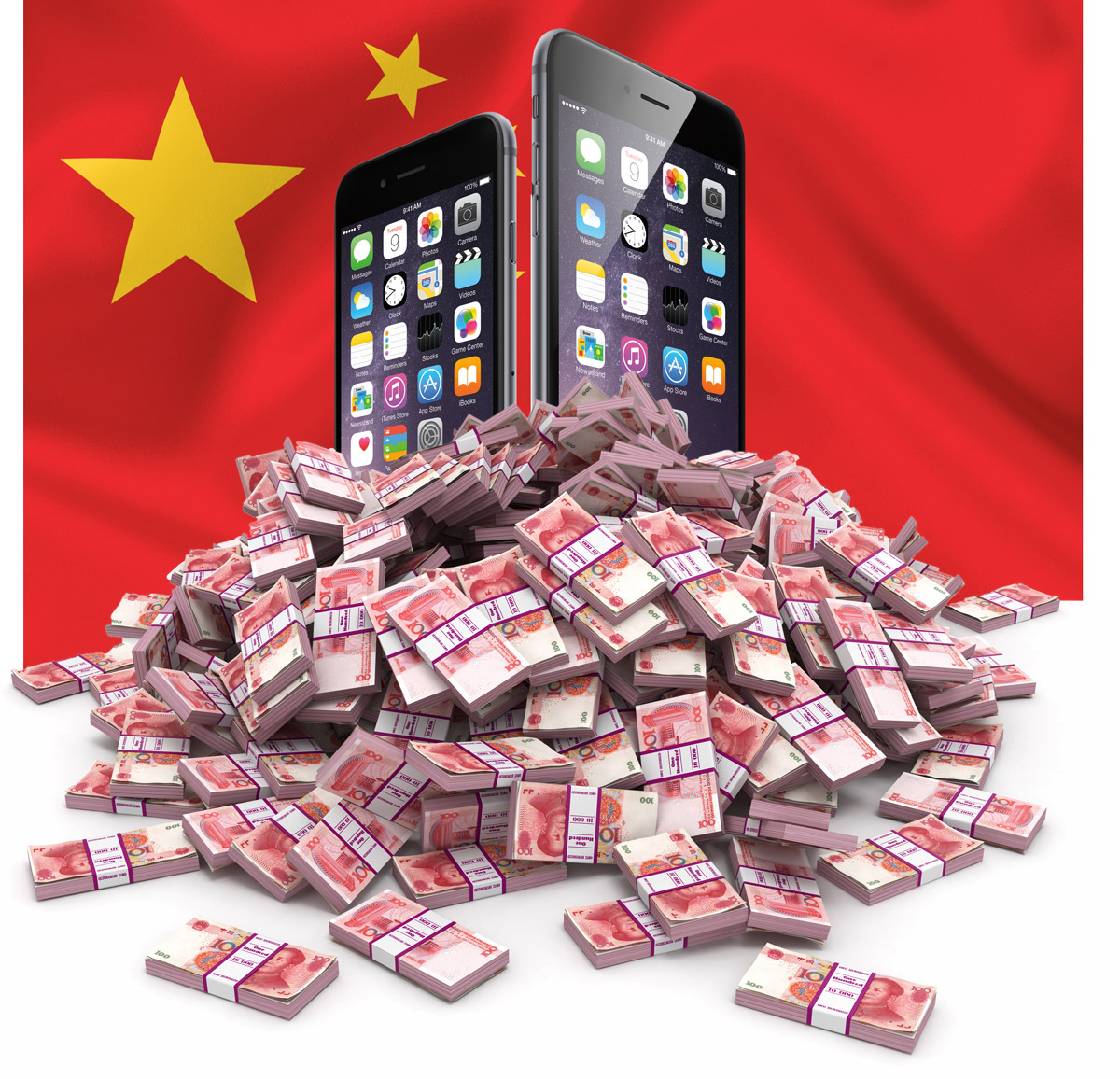 Chinese Flag, iPhones, Yuan