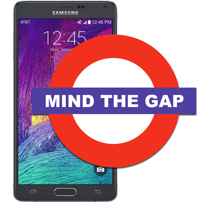 Samsung says the Note 4's gap between the display and body is a feature, not a flaw