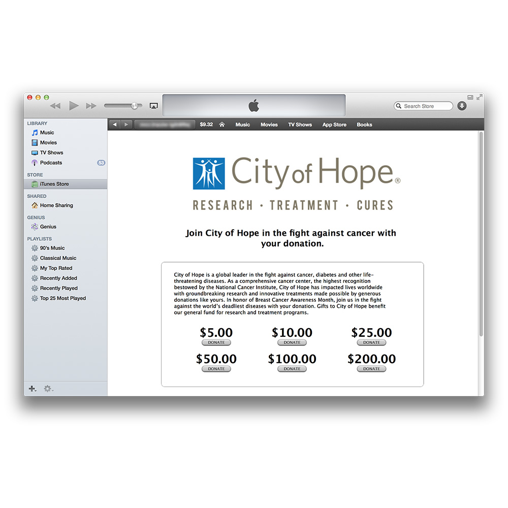 iTunes Store Adds City of Hope