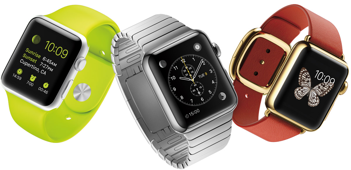 Apple Watch Sport (left), Apple Watch (center), Apple Watch Edition (right)