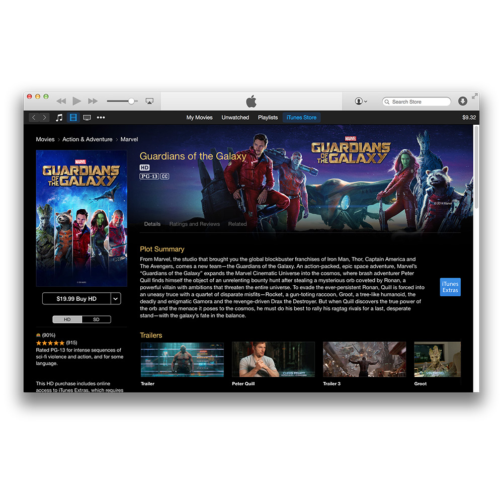 Guardians of the Galaxy Available in Apple's iTunes Store