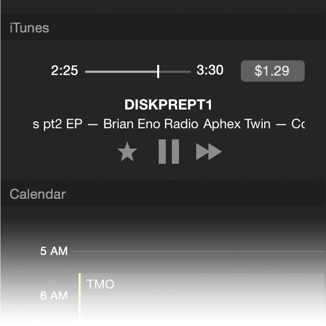 Now you'll see iTunes in Notification Center along with your other notifications