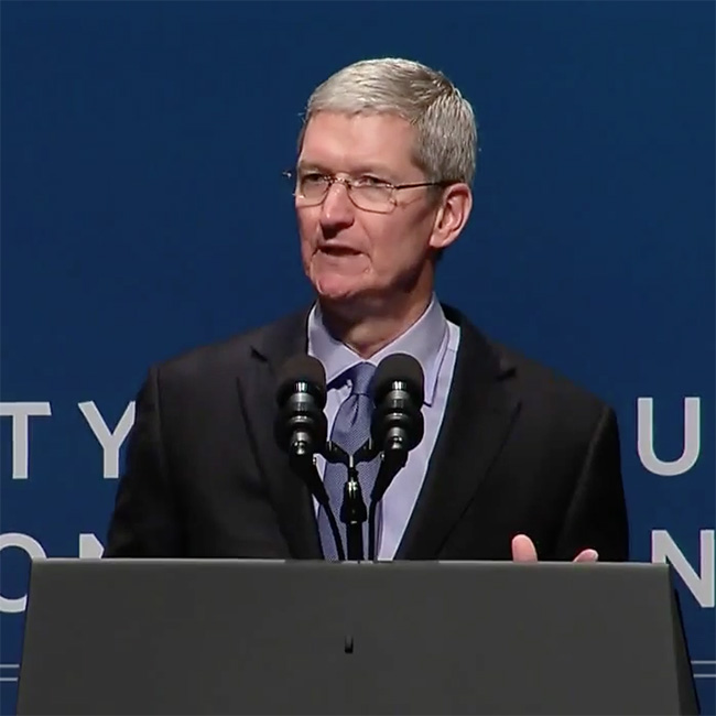 Apple CEO Tim Cook speaking at a cyber security summit