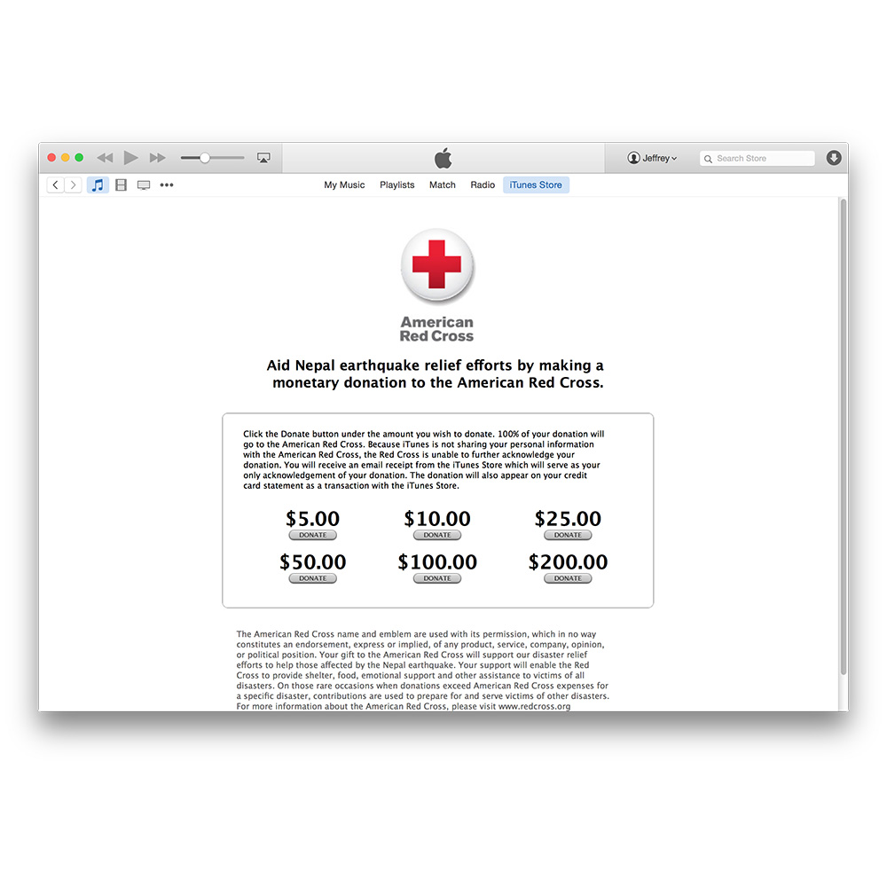 Donate to the Red Cross Nepal earthquake relief through the iTunes Store