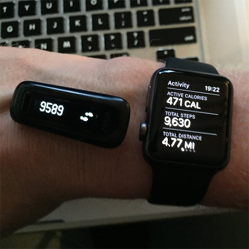 My Fitbit (left) and Apple Watch (right) track steps similarly after calibration.