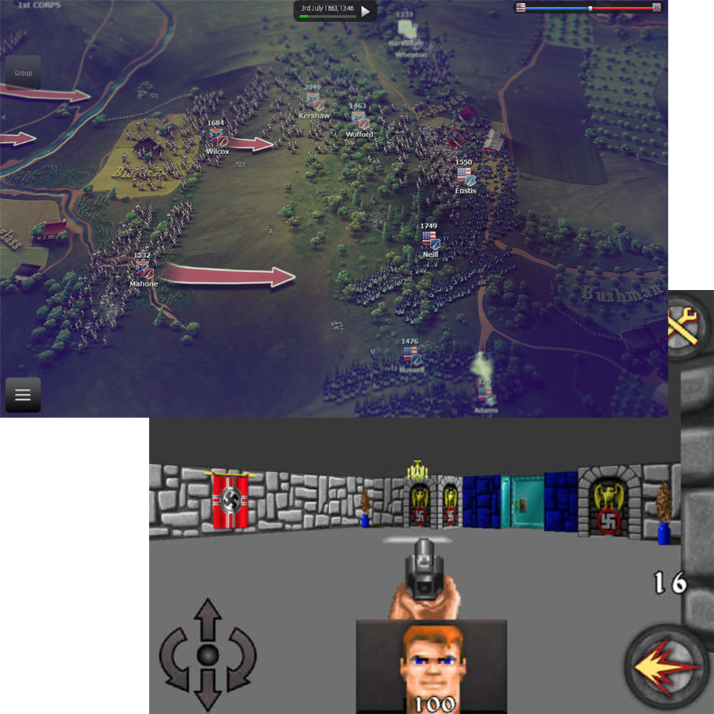 Ultimate General: Gettysburg (left) includes Confederate flags, Castle Wolfenstein (bottom) includes swastikas