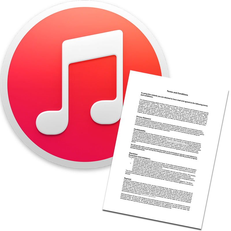 iTunes logo with a contract terms and conditions