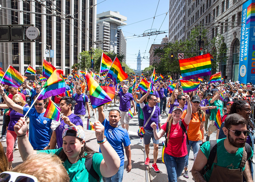 Apple shows its rainbow colors at San Fransisco's annual Pride parade