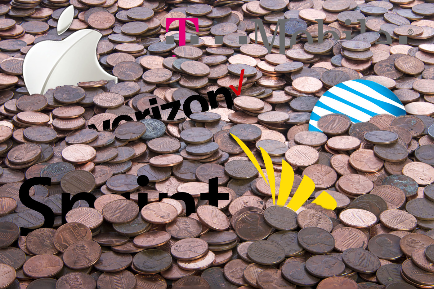 An ocean of pennies with logos of Apple, AT&T, Verizon, Sprint, and T-Mobile