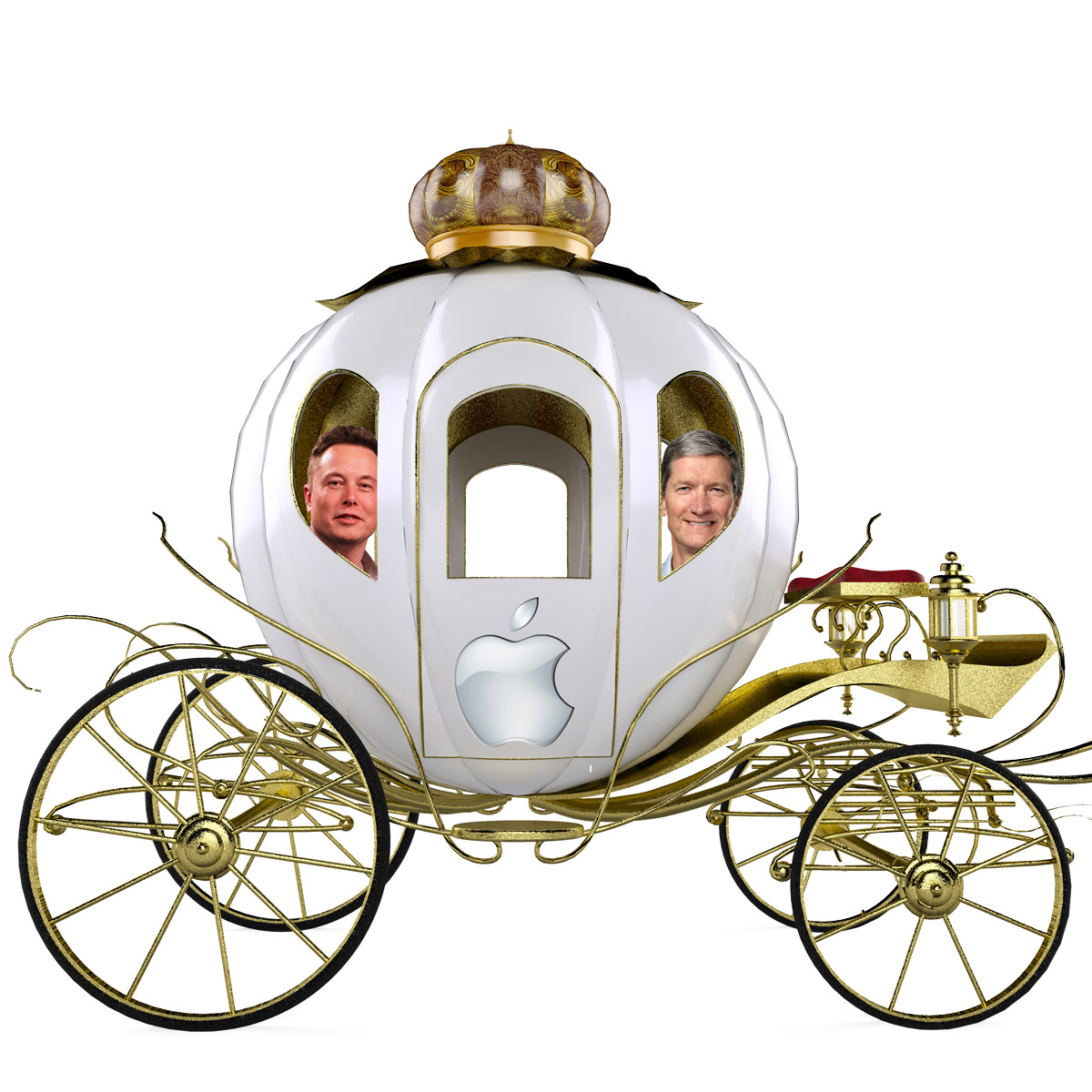 Elon Musk and Tim Cook Taking a Ride in TMO's Rendering of an Apple Car