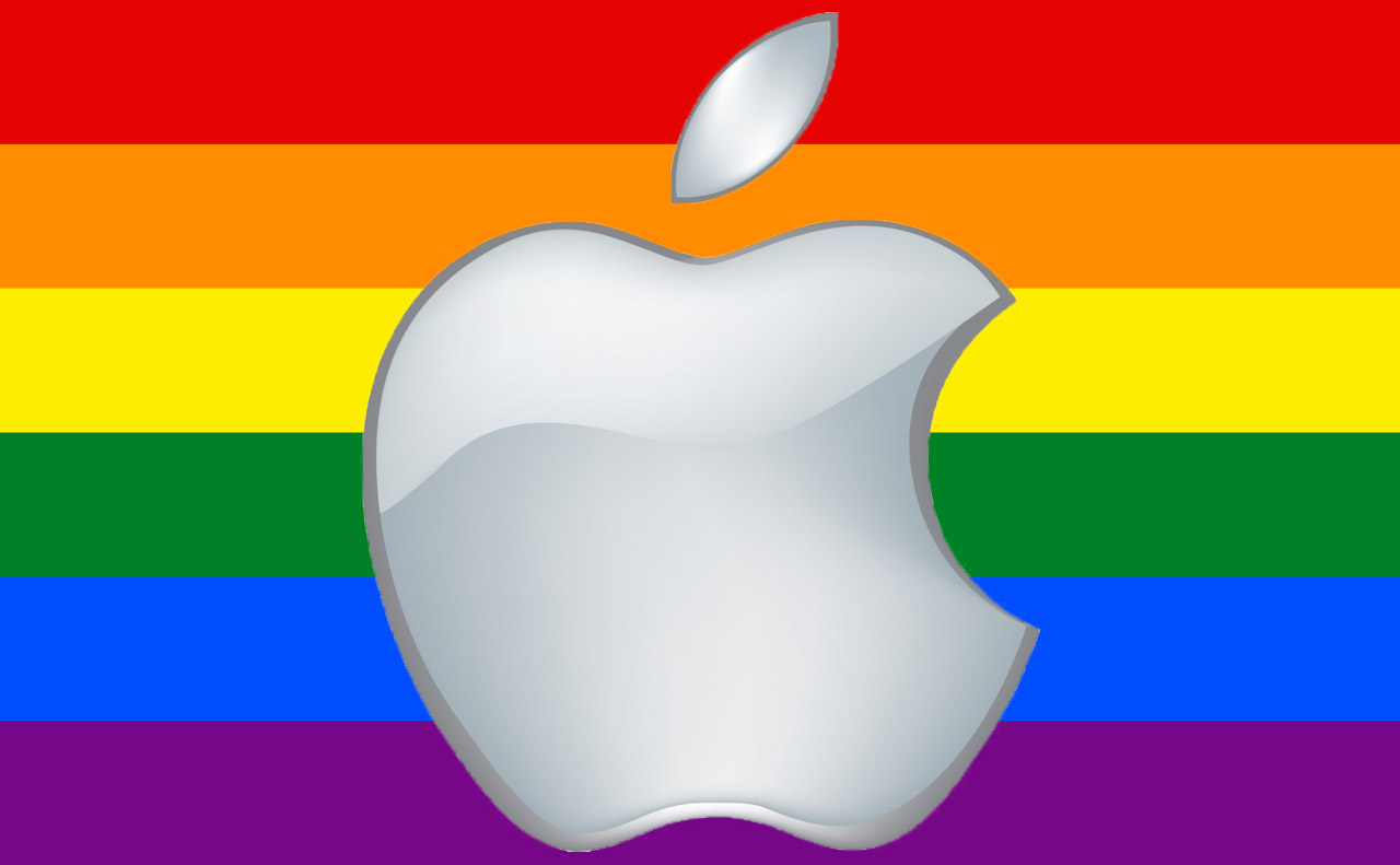Apple Logo in front of the Gay Pride Flag