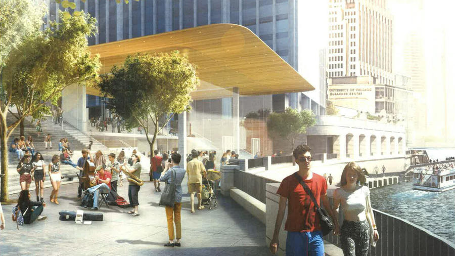 Apple's new Chicago River flagship store design