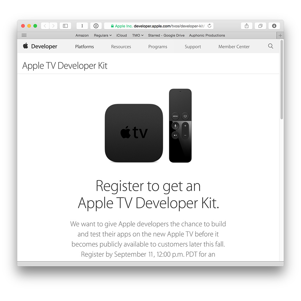Apple TV Developer Kit notifications are arriving now