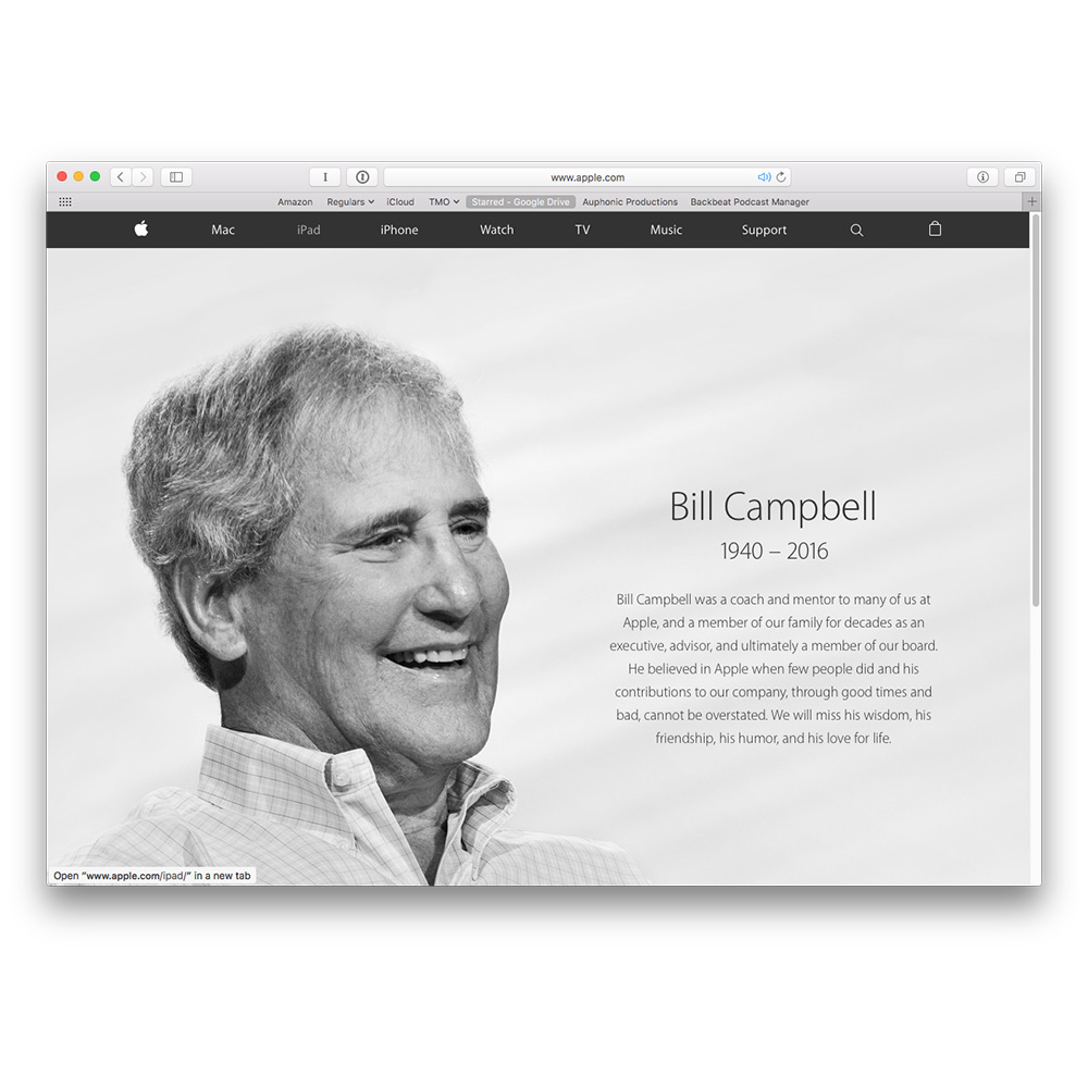 Apple Website Honors Bill Campbell