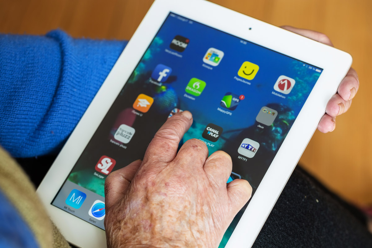 An Elder Using an iPad