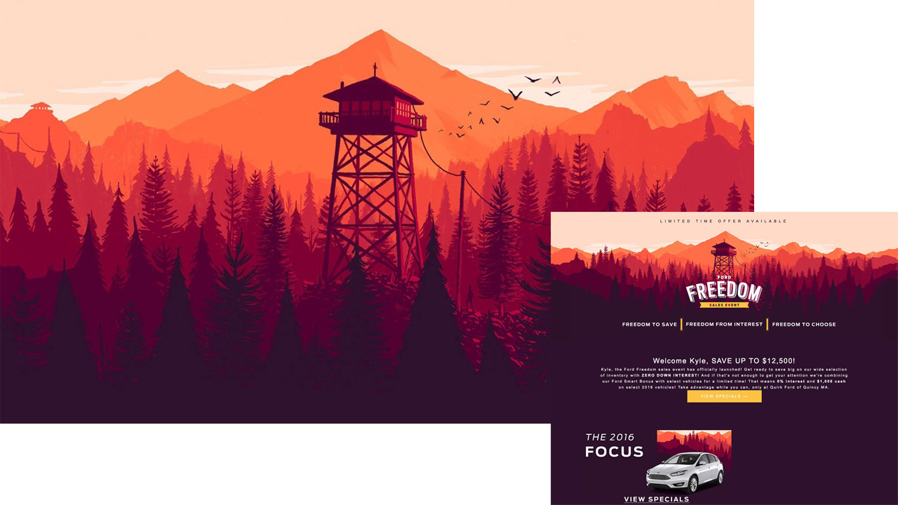 Firewatch's art and Quirk Ford's ad (inset)