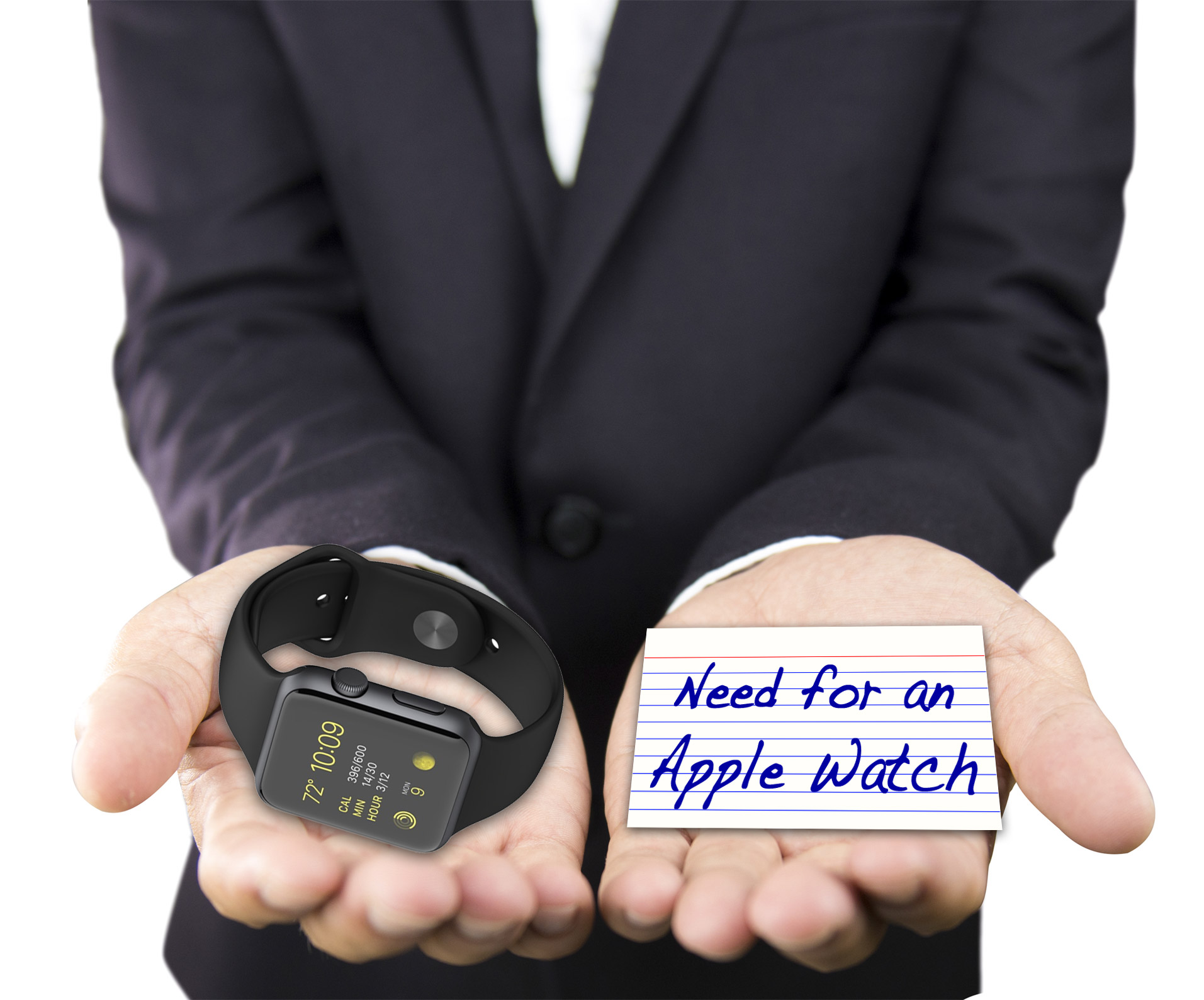 Hands weighing Apple Watch and the Need for Apple Watch