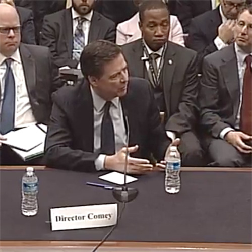 FBI Director James Comey testifying last month on encryption and law enforcement investigations