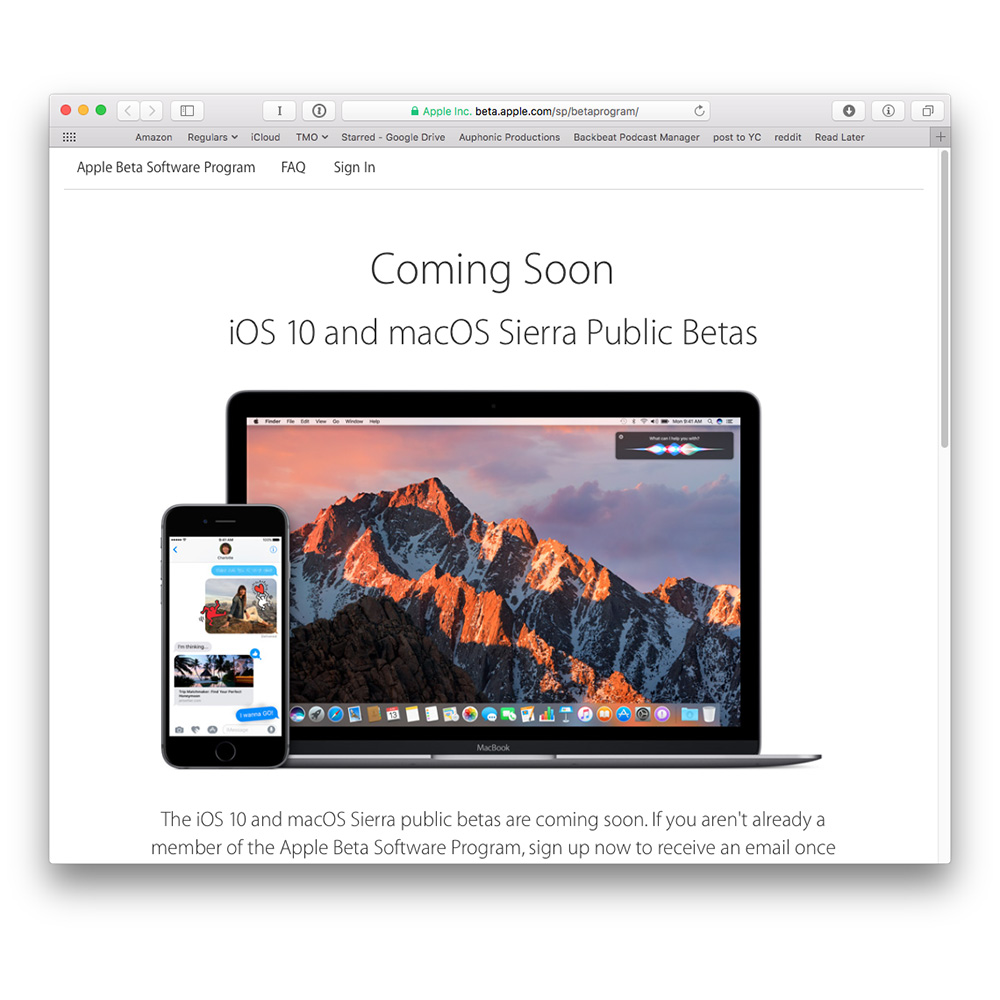 Signing up for Apple's iOS 10 and macOS Sierra public betas is easy