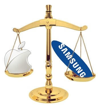 Apple and Samsung logos in the scales of justice