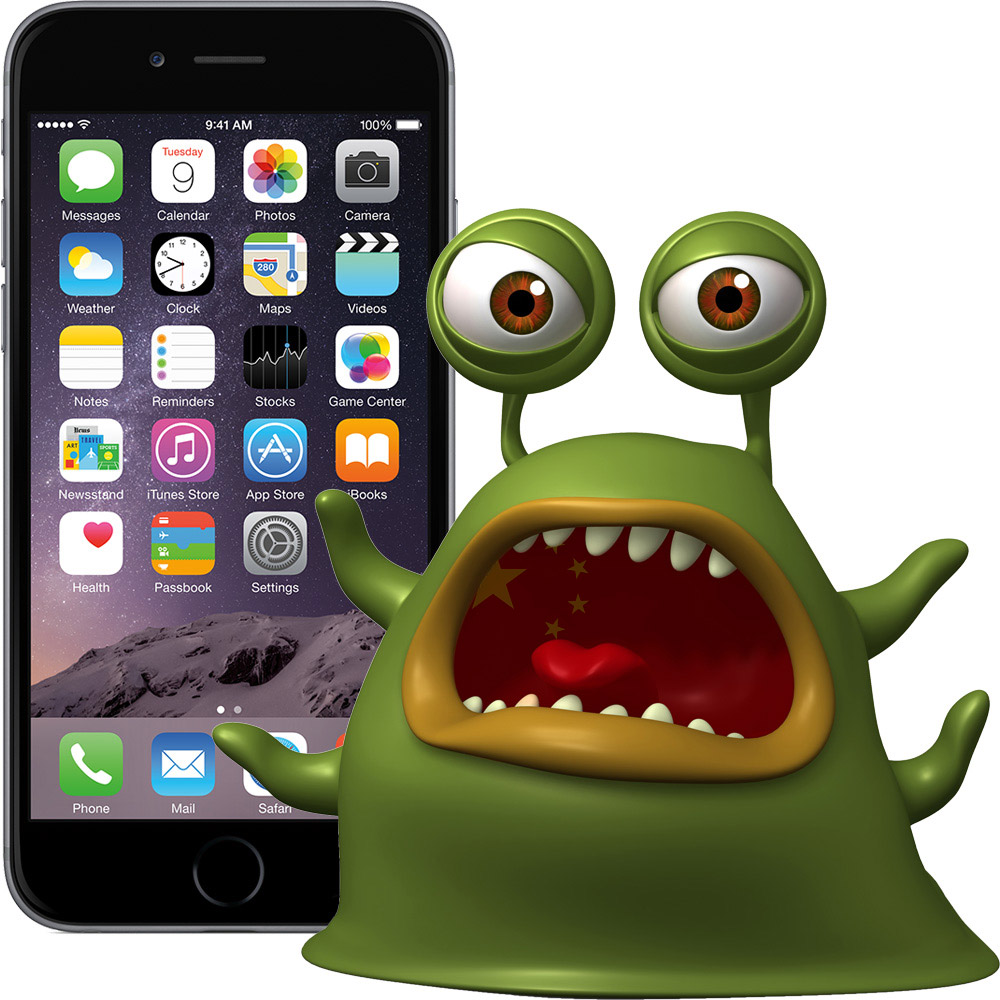 Monster with Chinese Flag in front of iPhone