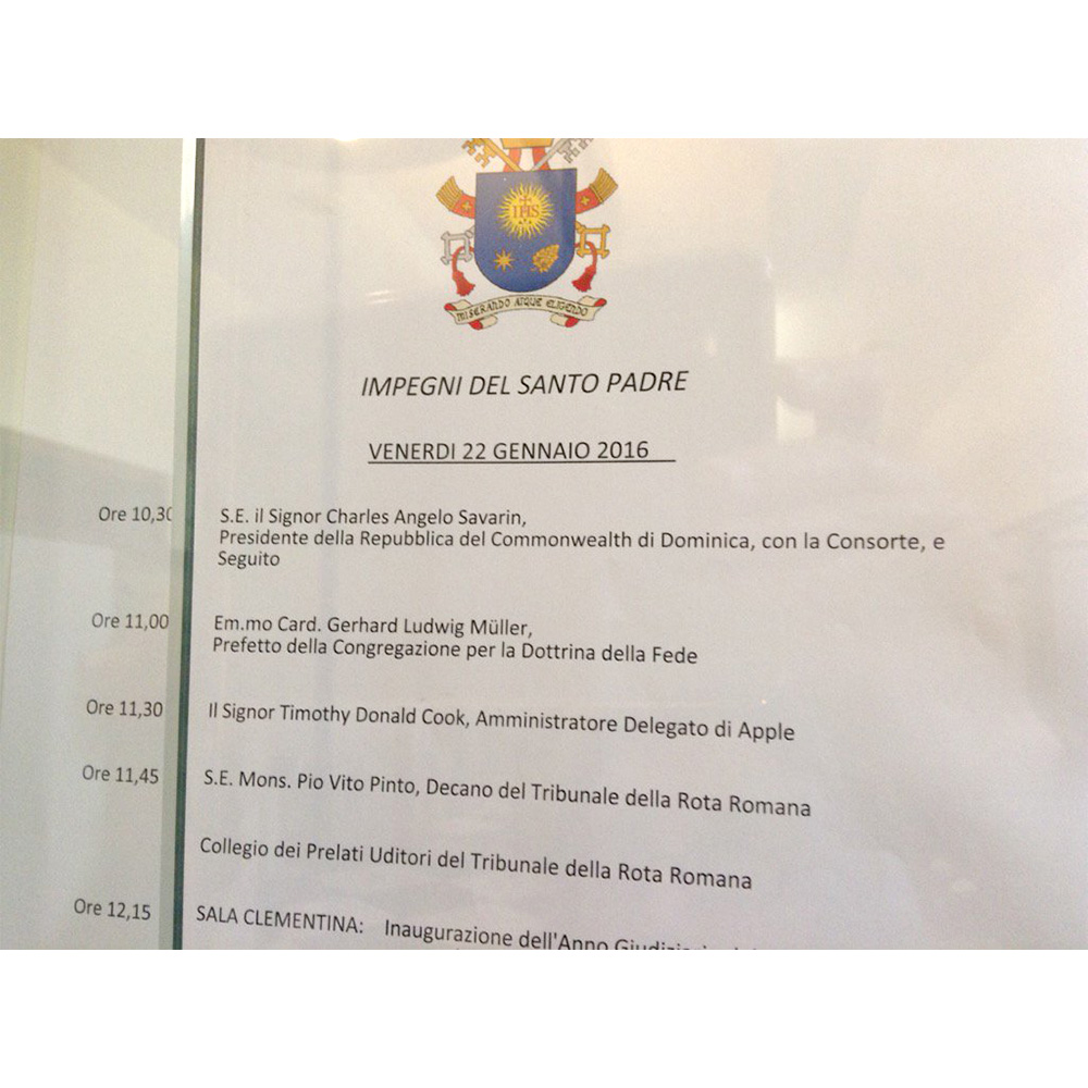Carol Glatz's photo of Pope Francis' schedule