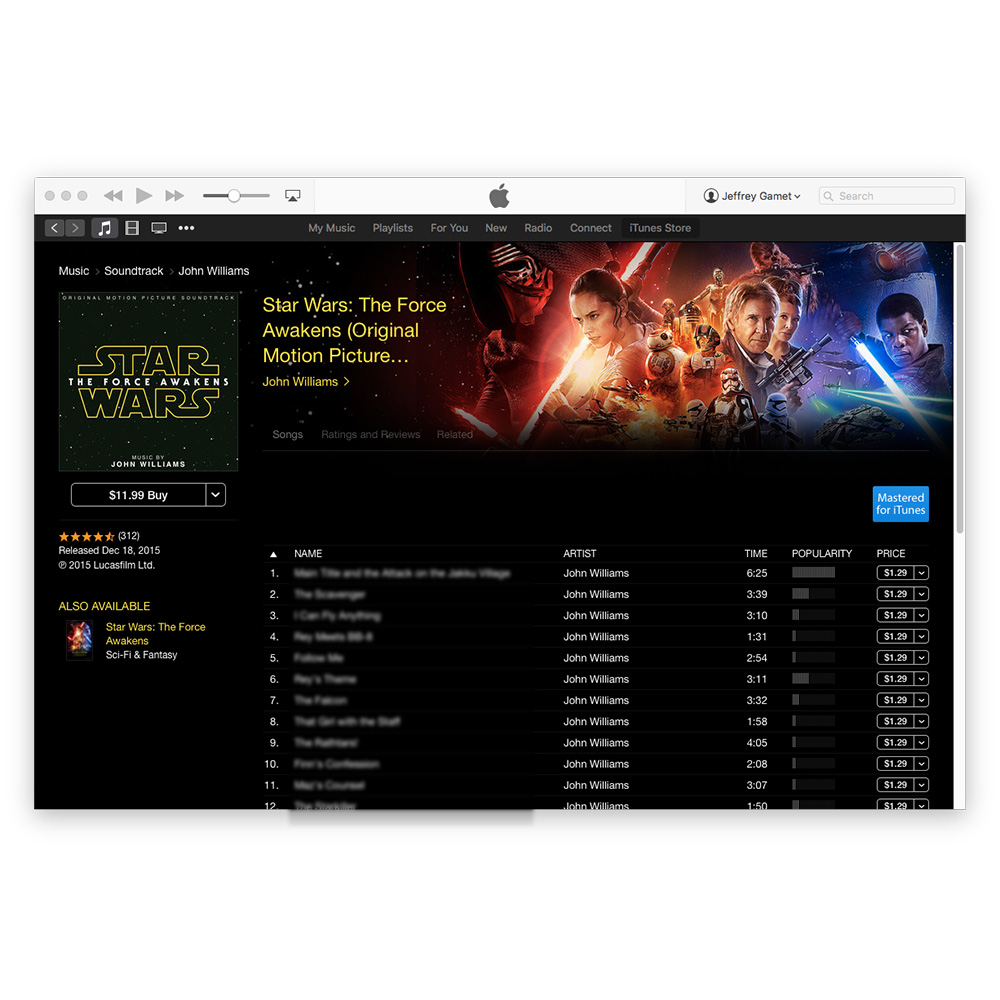 Star Wars: The Force Awakens soundtrack on iTunes