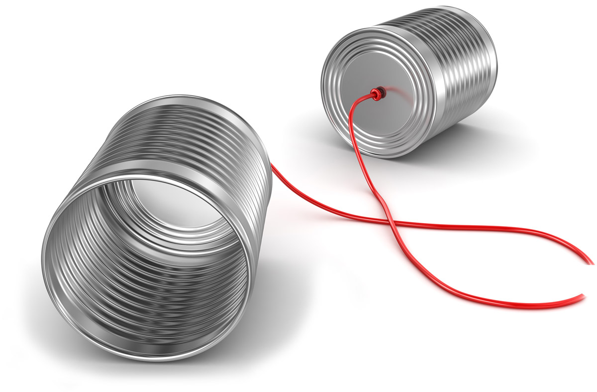 Tin cans with a broken string