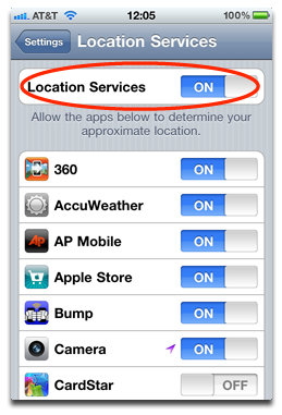 Location Services controls