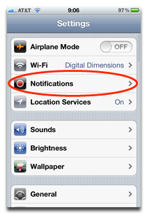 Settings > Notifications
