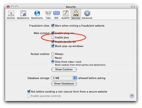 You can disable Java in Safari's preferences