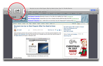Safari's Sharing button lives next to the URL/Search field