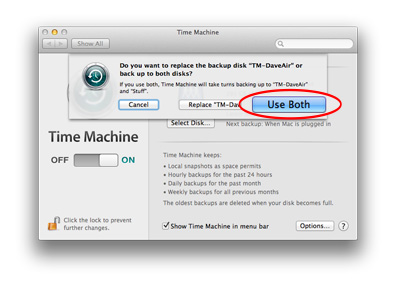Be sure to choose Use Both to add extra volumes to Time Machine's backup schedule
