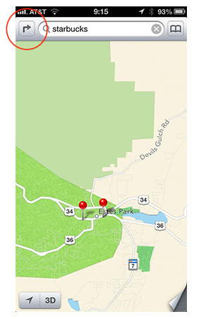 Tape the Route button to open the Route view in Maps