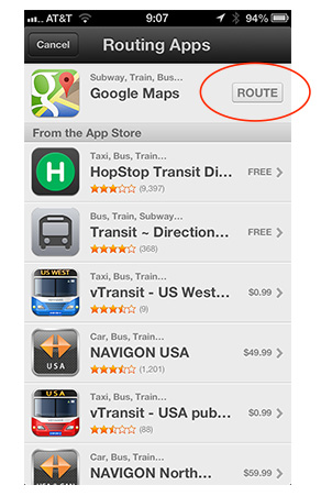 Choose the companion app you want to use for transit routing