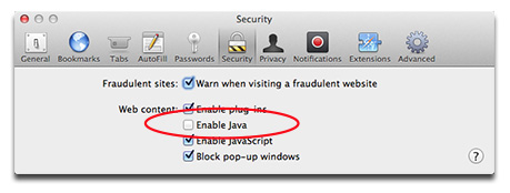 Safari's preferences let you disable Java for Web browsing