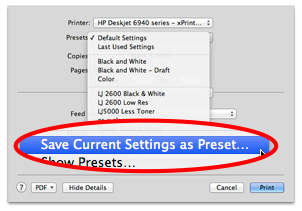 OS X lets you save your custom printer settings. It's a big time saver.
