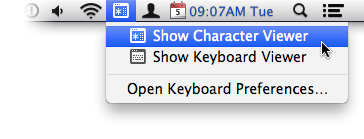 The Keyboard & Character Viewers menu item is your key to Emoji on the Mac