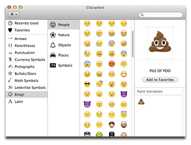 Double-click an Emoji character to add it to your document or chat