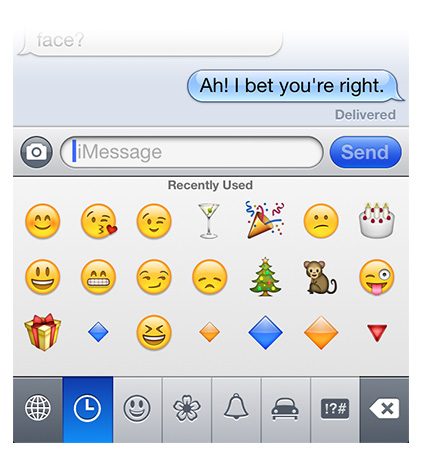 ...then add Emoji to your documents and messages like any other character