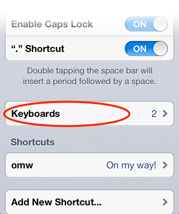 iOS Keyboard settings enables extra keyboards, including Emoji