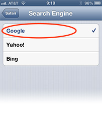 iOS lets you choose between the three big Internet search players