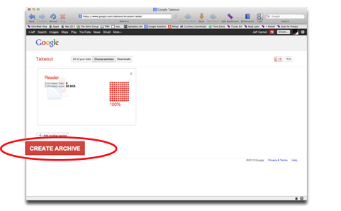 You can export an archive of your Google Reader feeds and settings